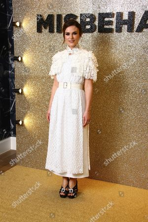 Keira Knightley poses for photographers upon arrival at the World Premiere of 'Misbehaviour' at a central London hotel