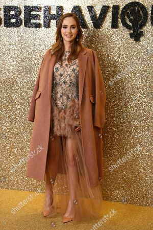 Keira Knightley. Actress Suki Waterhouse poses for photographers upon arrival at the World Premiere of 'Misbehaviour' at a central London hotel