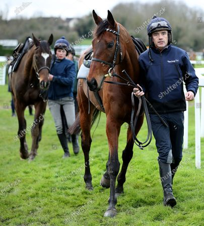 Ruby Walsh with Chacun Pour Soi followed by trainer Willie Mullins' horses