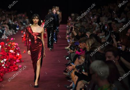 A model presents a creation by Carla Zampatti during the Gala Runway 2 show at the Melbourne Fashion Festival, in Melbourne, Australia, 10 March 2020.