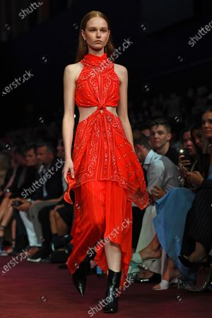 Stock Picture of A model presents a creation by Dion Lee during the Gala Runway 1 show at the Melbourne Fashion Festival, in Melbourne, Australia, 10 March 2020.