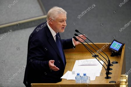 Stock Image of Russian State Duma member, Just Russia political party leader Sergei Mironov speaks during a plenary session of the Russian State Duma in Moscow, Russia, 10 March 2020. The State Duma considers amendments to the Russia's Constitution in the second reading.