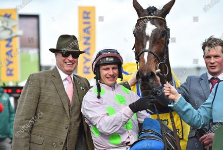 Rich Ricci, owner of Min with jockey, Paul Townend after winning The Ryanair Steeple Chase.