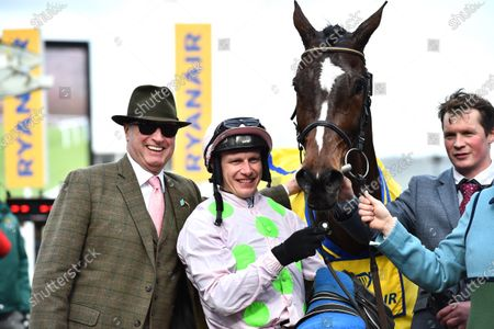 (L) Rich Ricci, owner of Min with jockey Paul Townend after winning The Ryanair Steeple Chase.
