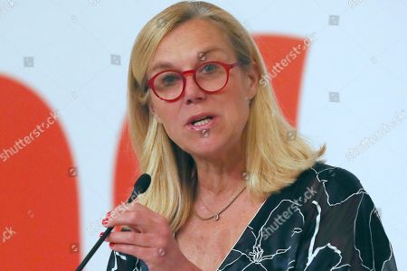 Netherlands' Minister for Foreign Trade and Development Cooperation Sigrid Kaag delivers a speech during the Netherlands Economic Mission to Indonesia in Jakarta, Indonesia, . King Willem-Alexander and his wife Queen Maxima are currently on on a five-day visit in the country