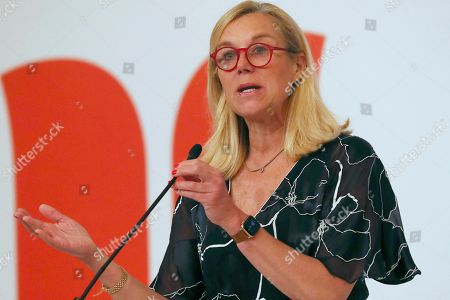 Netherlands' Minister for Foreign Trade and Development Cooperation Sigrid Kaag delivers a speech during Netherlands Economic Mission to Indonesia in Jakarta, Indonesia, . King Willem-Alexander and his wife Queen Maxima are currently on on a five-day visit in the country
