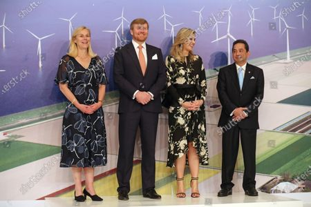 King Willem-Alexander of the Netherlands (2-L) and Queen Maxima (2-R) stand on to the stage accompanied by Indonesian Trade Minister, Agus Suparmanto and Dutch Minister for Foreign Trade and Development Cooperation, Sigrid Kaag during the event Netherlands Economic Mission to Indonesia in Jakarta, Indonesia, 10 March 2020. Around 180 participans representing 130 Dutch companies and knowledge institution take a part in the mission. The Dutch royal couple is on a five-day state visit to Indonesia, to strengthen the bilateral relationship between the two countries.
