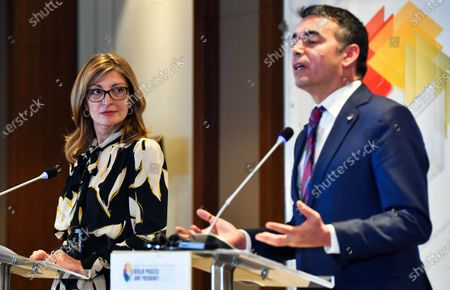 Stock Photo of Bulgarian Foreign Minister Ekaterina Zaharieva (L) and Macedonian Foreign Minister Nikola Dimitrov (R) attend the joint press conference after the Meeting of the Ministers of Foreign Affairs, members of the Berlin Process in Skopje, Republic of North Macedonia, 10 March 2020. Bulgaria and North Macedonia, an EU member and a candidate country will co-chair the Berlin Co-operation Process with the Western Balkan countries. For the first time, a candidate country is also at the head of the initiative. This happens in a year when North Macedonia and Albania hope for the start date for EU membership talks.