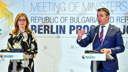 Bulgarian Foreign Minister Ekaterina Zaharieva (L) and Macedonian Foreign Minister Nikola Dimitrov (R) attend the joint press conference after the Meeting of the Ministers of Foreign Affairs, members of the Berlin Process in Skopje, Republic of North Macedonia, 10 March 2020. Bulgaria and North Macedonia, an EU member and a candidate country will co-chair the Berlin Co-operation Process with the Western Balkan countries. For the first time, a candidate country is also at the head of the initiative. This happens in a year when North Macedonia and Albania hope for the start date for EU membership talks.