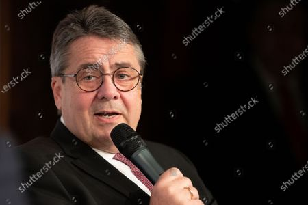 Former German Foreign Minister Sigmar Gabriel speaks during a presentation of his book 'More courage!' (mehr Mut!) in Berlin, Germany, 10 March 2020. The former vice chancellor as well as chairman of the Social Democratic Party (SPD) described how politics has tried to deal with the massive global upheavals in his book.