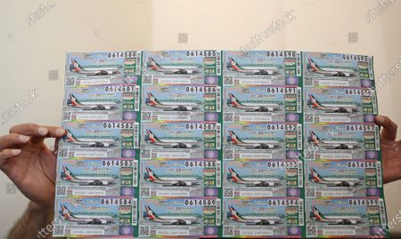View of a series of lottery tickets in Mexico City, Mexico, 10 March 2020. Six million tickets are on sale for the presidential plane raffle, which will be drawn on 15 September. The prize, 20 million pesos (1 million US dollars), is the approximate value of the Boeing 787 used by former Mexican President  Enrique Pena Nieto.