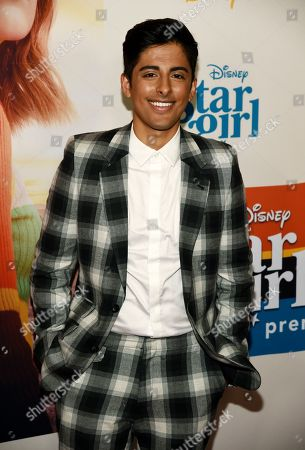 "Stock Image of Karan Brar, a cast member in the Disney+ film ""Stargirl,"" poses at the premiere of the film at the El Capitan Theatre, in Los Angeles"
