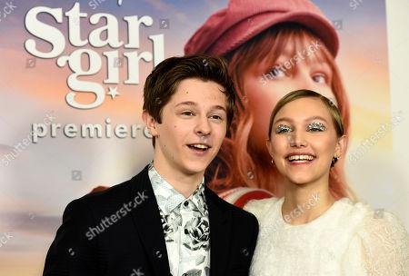 "Graham Verchere, Grace Vanderwaal. Graham Verchere, left, and Grace VanderWaal, cast members in the Disney+ film ""Stargirl,"" pose together at the premiere of the film at the El Capitan Theatre, in Los Angeles"