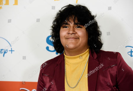 "Stock Photo of Juliocesar Chavez, a cast member in the Disney+ film ""Stargirl,"" poses at the premiere of the film at the El Capitan Theatre, in Los Angeles"