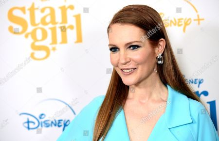 """Darby Stanchfield, a cast member in the Disney+ film """"Stargirl,"""" poses at the premiere of the film at the El Capitan Theatre, in Los Angeles"""