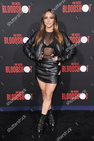 """Cassie Scerbo attends the LA premiere of """"Bloodshot"""" at the Regency Westwood Theatre, in Los Angeles"""