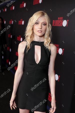 Stock Picture of Katherine McNamara at the World Premiere of Columbia Pictures' BLOODSHOT at The Village Regency.