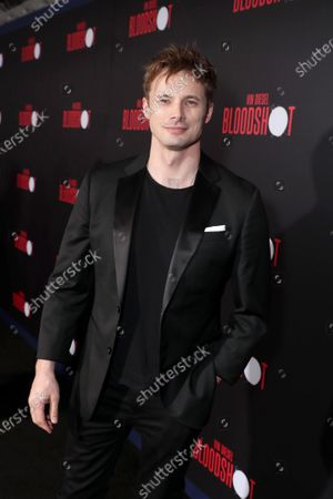 Bradley James at the World Premiere of Columbia Pictures' BLOODSHOT at The Village Regency.
