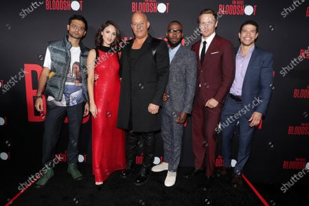 Siddharth Dhananjay, Eiza Gonzalez, Vin Diesel, Lamorne Morris, Sam Heughan and Alex Hernandez at the World Premiere of Columbia Pictures' BLOODSHOT at The Village Regency.