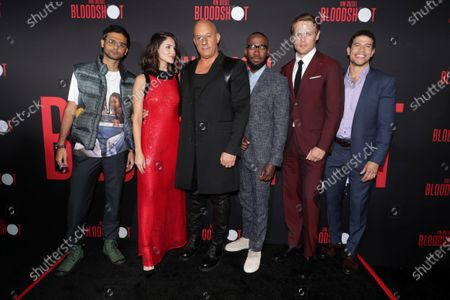 Stock Picture of Siddharth Dhananjay, Eiza González, Vin Diesel, Lamorne Morris, Sam Heughan and Alex Hernandez at the World Premiere of Columbia Pictures' BLOODSHOT at The Village Regency.