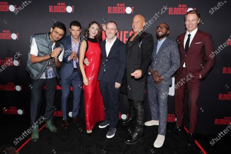 Siddharth Dhananjay, Alex Hernandez, Eiza Gonzalez, Dave Wilson, Director, Vin Diesel, Lamorne Morris and Sam Heughan at the World Premiere of Columbia Pictures' BLOODSHOT at The Village Regency.