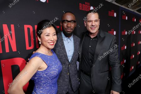 Stock Image of Bing Wu, Lamorne Morris and Dan Mintz at the World Premiere of Columbia Pictures' BLOODSHOT at The Village Regency.