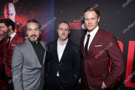 Steve Jablonsky, Composer, Dave Wilson, Director, and Sam Heughan at the World Premiere of Columbia Pictures' BLOODSHOT at The Village Regency.