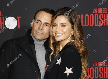 US TV host Maria Menounos and her husband, TV writer Keven Undergaro (L), arrive for the movie premiere of Sony's 'Bloodshot' at the Regency Village Theater in Westwood, Los Angeles, California, USA, 10 March 2020. The movie opens in theaters in the USA on 13 March 2020.