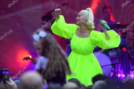 US singer Katy Perry performs on stage during the 'FIGHT ON' concert for bushfire-affected communities at Pioneer Park Recreation Reserve in Bright, Victoria, Australia, 11 March 2020. The pop star is putting on a free show in Victoria's Alpine region.