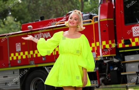 US singer Katy Perry poses for photos ahead of the 'FIGHT ON' concert for bushfire-affected communities at Pioneer Park Recreation Reserve in Bright, Victoria, Australia, 11 March 2020. The pop star is putting on a free show in Victoria's Alpine region on 11 March night.