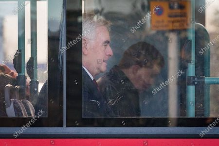 Shadow Chancellor, John McDonnell on board a bus after leaving his west London home this morning. Later today, the new Chancellor of the Exchequer, Rishi Sunak will present his first budget to Parliament.