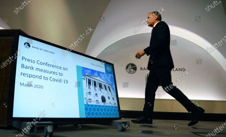 Bank of England Governor Mark Carney arrives at an emergency press conference in London, Britain, 11 March 2020. The Bank of England has announced it has cut interest rates in response to the Coronavirus outbreak.