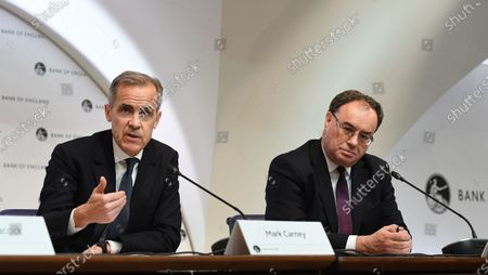 Outgoing Bank of England Governor Mark Carney (L) and incoming Bank of England Governor Andrew Bailey (R) hold an emergency press conference in London, Britain, 11 March 2020. The Bank of England has announced it has cut interest rates in response to the Coronavirus outbreak.