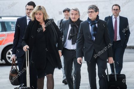 Stock Picture of Wolfgang Niersbach (C), former president of the German Football Association (DFB), and his team of lawyers arrive at the Federal Criminal Court in Bellinzona, Switzerland, 11 March 2020. Three former German football officials and ex-FIFA Secretary-General will go on trial over suspicions that Germany bought votes to obtain the 2006 World Cup.
