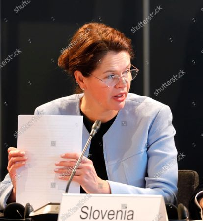 Stock Picture of Slovenian Minister of Infrastructure Alenka Bratusek attends the Maritime Conference and Informal Meeting of EU Transport Ministers (Maritime) in Opatija, Croatia, 11 March 2020.