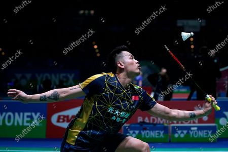 Stock Photo of Dan Lin from China in action during his men's singles match against Kunlavut Vitidsarn from Thailand at the YONEX All England Open Badminton Championships in Birmingham, Britain, 11 March 2020.