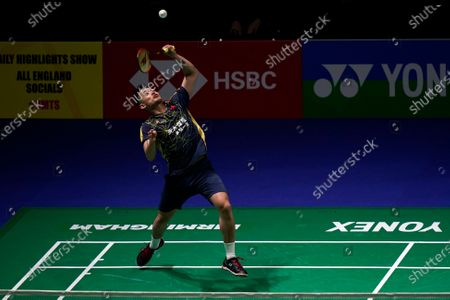 Dan Lin from China in action during his men's singles match against Kunlavut Vitidsarn from Thailand at the YONEX All England Open Badminton Championships in Birmingham, Britain, 11 March 2020.