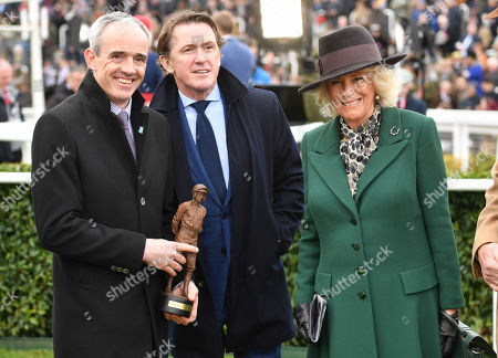 Ruby Walsh (left) and Tony McCoy with Camilla Duchess of Cornwall as she attends Ladies Day at the Cheltenham Festival