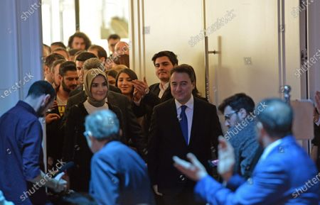 Stock Picture of Ali Babacan (C-R), former Turkish Minister and ally of Turkish President Recep Tayyip Erdogan, and his wife Ulku Zeynep (C-L) greet supporters during a ceremony of launching his new party in Ankara, Turkey, 11 March 2020. Babacan unveiled his new Democracy and Progress Party (DEVA) on 11 March 2020 after he resigned from Turkey's ruling party Justice and Development Party (AK Party) last year.