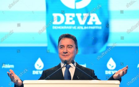 Ali Babacan, former Turkish Minister and ally of Turkish President Recep Tayyip Erdogan, speaks during a ceremony of launching his new party in Ankara, Turkey, 11 March 2020. Babacan unveiled his new Democracy and Progress Party (DEVA) on 11 March 2020 after he resigned from Turkey's ruling party Justice and Development Party (AK Party) last year.