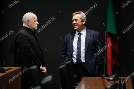 Prosecutor Rosario Teixeira (R) speaks with the Jose Antonio Barreiros (L), lawyer of the former CEO of Portugal Telecom (PT), Zeinal Bava (not pictured), during the fact-finding debate into the high-profile corruption case known as Operation Marques at the Justice Campus in Lisbon, Portugal, 11 March 2020. Operation Marques has 28 defendants - 19 people and 9 companies - including former Prime Minister Jose Socrates, banker Ricardo Salgado, businessman and friend of Socrates Carlos Santos Silva and senior staff of Portugal Telecom and is related to crimes of corruption, active and passive, money laundering, document forgery and tax fraud.