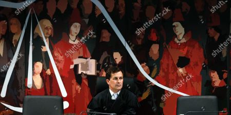 Stock Photo of Judge Ivo Rosa during the fact-finding debate into the high-profile corruption case known as Operation Marques at the Justice Campus in Lisbon, Portugal, 11 March 2020. Operation Marques has 28 defendants - 19 people and 9 companies - including former Prime Minister Jose Socrates, banker Ricardo Salgado, businessman and friend of Socrates Carlos Santos Silva and senior staff of Portugal Telecom and is related to crimes of corruption, active and passive, money laundering, document forgery and tax fraud.
