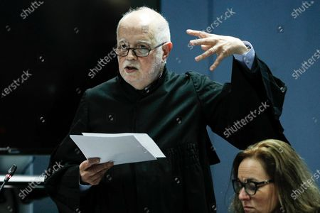 Stock Image of Jose Antonio Barreiros, lawyer of the former CEO of Portugal Telecom (PT), Zeinal Bava (not pictured), speaks during the fact-finding debate into the high-profile corruption case known as Operation Marques at the Justice Campus in Lisbon, Portugal, 11 March 2020. Operation Marques has 28 defendants - 19 people and 9 companies - including former Prime Minister Jose Socrates, banker Ricardo Salgado, businessman and friend of Socrates Carlos Santos Silva and senior staff of Portugal Telecom and is related to crimes of corruption, active and passive, money laundering, document forgery and tax fraud.