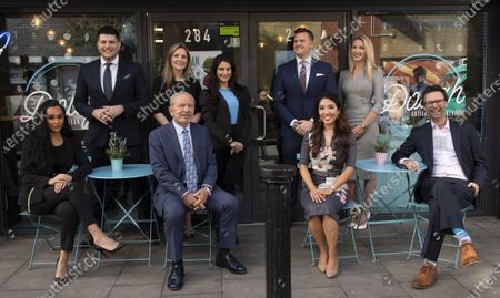 Lord Alan Sugar with eight of the Apprentice tv show winners, they are, from left - Sian Gabbidon (2018), Mark Wright (2015), Sarah Lynn (2017), Carina Lapore (2019), Susie Ma (2011 - 3rd) Ricky Martin (2012), Leah Totten (2013) and Tom Pellerau (2011) at Dough Bakehouse, Herne Hill
