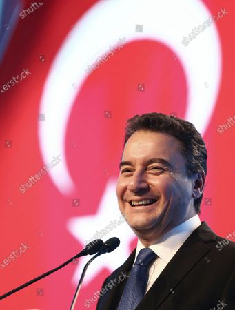 Stock Image of Ali Babacan, an economist, who held various high level government positions between 2002-2015, announces the details of the program of his new political party, Remedy, in Ankara, Turkey, . Babacan has established a new political party, the second former ally of President Recep Tayyip Erdogan to breakaway from the ruling party and form a new movement to challenge his rule