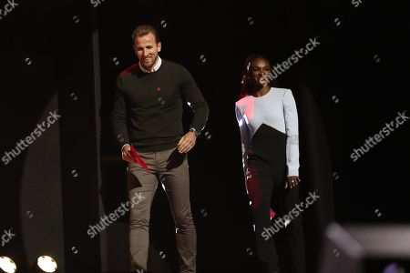 Harry Kane and Dina Asher-Smith on stage at the annual Prince's Trust Awards 2020 held at the London Palladium