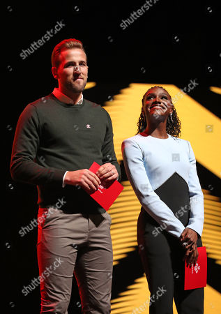 Footballer Harry Kane and Dina Asher-Smith on stage at the annual Prince's Trust Awards 2020 held at the London Palladium