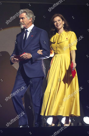 Pierce Brosnan and Anna Friel at the annual Prince's Trust Awards 2020 held at the London Palladium