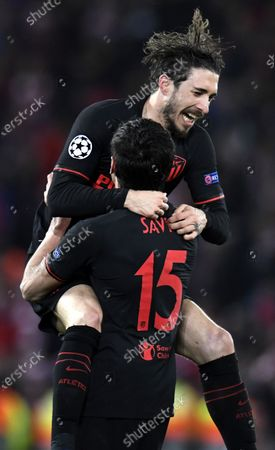 Stock Photo of Stefan Savic and Sime Vrsaljko (top) of Atletico celebrate after the UEFA Champions League Round of 16, second leg match between Liverpool FC and Atletico Madrid in Liverpool, Britain, 11 March 2020.