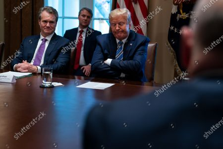 Bank of America CEO Brian Moynihan, left, and President Donald Trump listen during a meeting with banking industry executives about the coronavirus, at the White House, in Washington